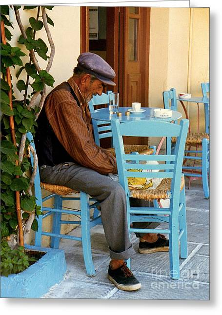Old Man With Hat Greeting Cards - Naplion Lunch Greeting Card by JK McCrea