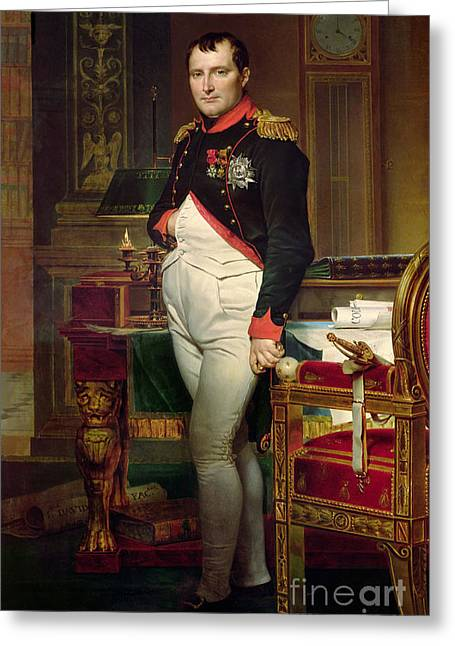 Napoleon Bonaparte In His Study At The Tuileries, 1812 Greeting Card by Jacques Louis David