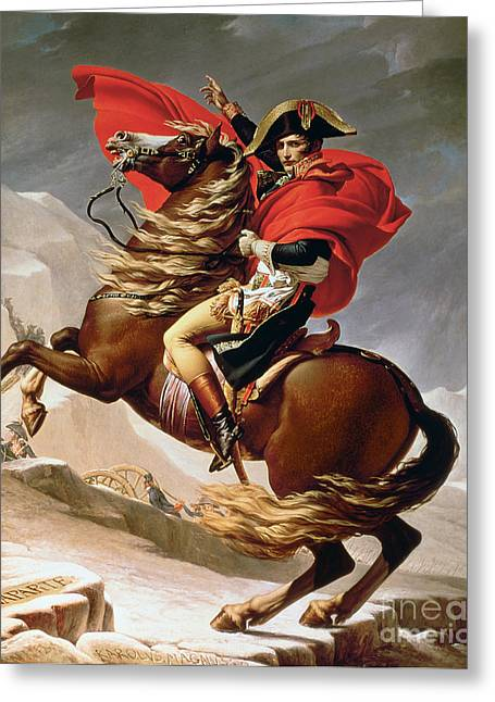 Troops Greeting Cards - Napoleon Crossing the Alps Greeting Card by Jacques Louis David