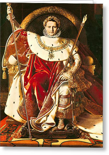 French Leaders Greeting Cards - Napoleon I on the Imperial Throne Greeting Card by Ingres