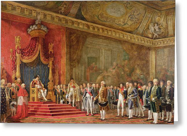 Napoleon Receiving The Delegation From The Roman Senate Greeting Card by Innocent Louis Goubaud
