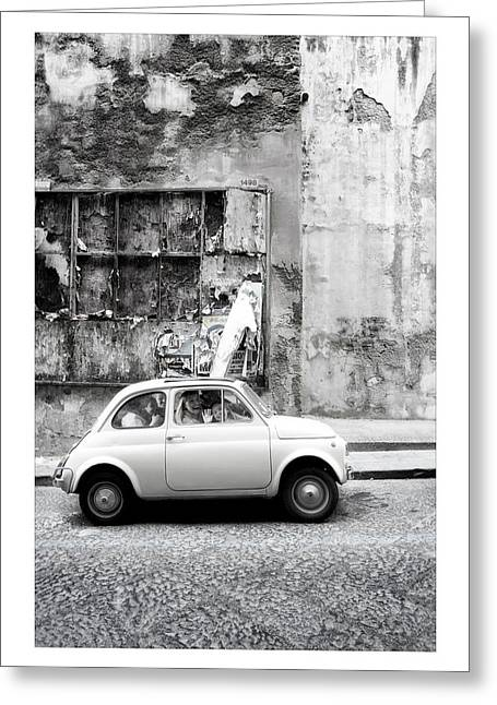 Fiat 500 Greeting Cards - Napoli Greeting Card by Marco Hietberg