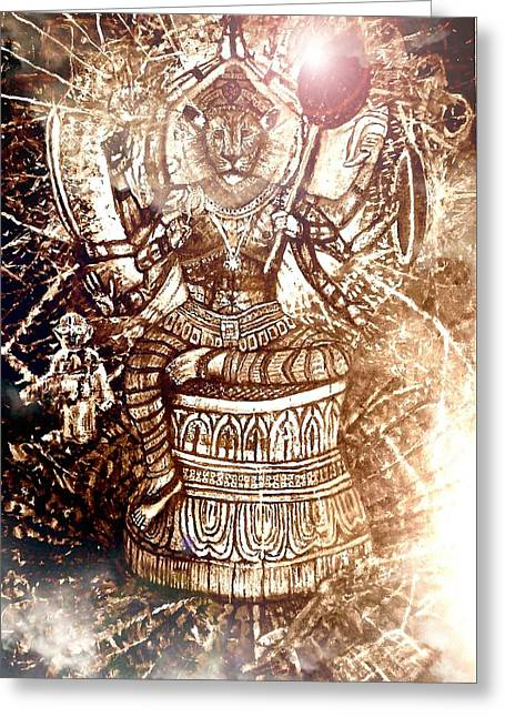 Illuminated Narasimha Dev In Sepia Greeting Card by Michael African Visions