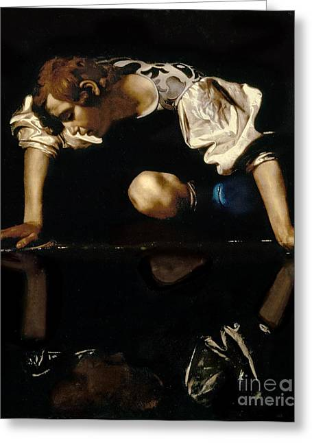 Reflect Greeting Cards - Narcissus Greeting Card by Caravaggio