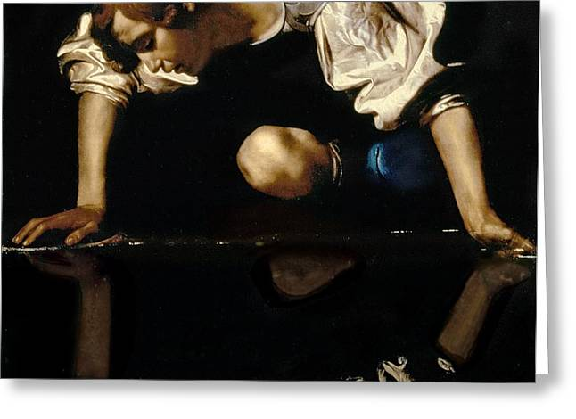 Narcissus Greeting Card by Caravaggio