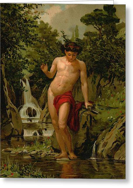 Trees Reflecting In Water Greeting Cards - Narcissus in love with his own reflection Greeting Card by Dionisio Baixeras-Verdaguer