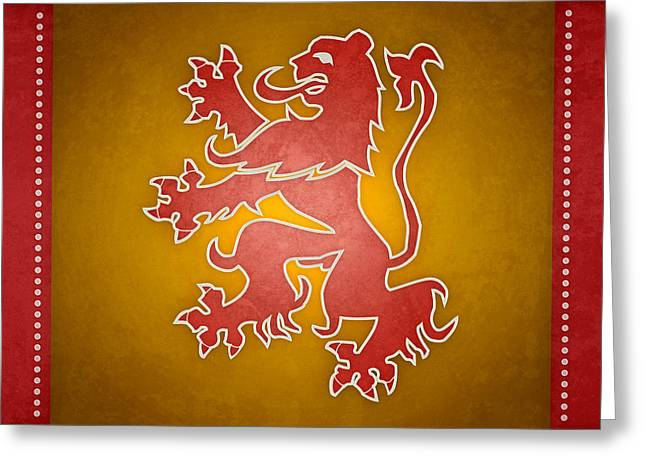 Lions Greeting Cards - Narnia Flag of War Greeting Card by Brett Pfister