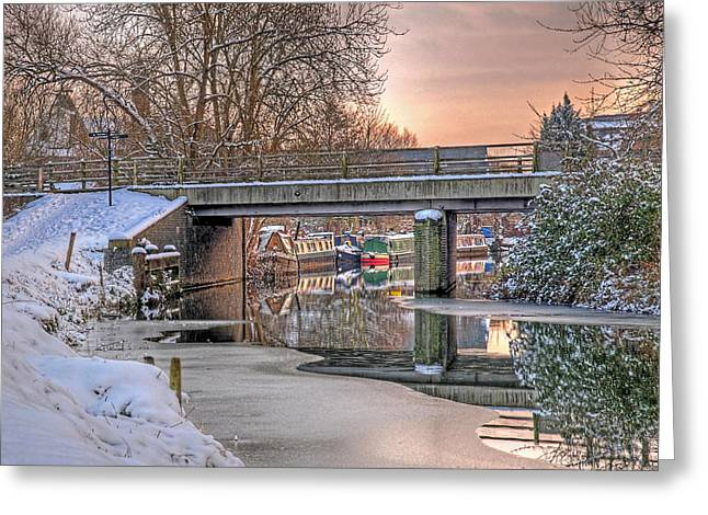 Dusky Pink Greeting Cards - Narrow Boats Under the Bridge Greeting Card by Gill Billington