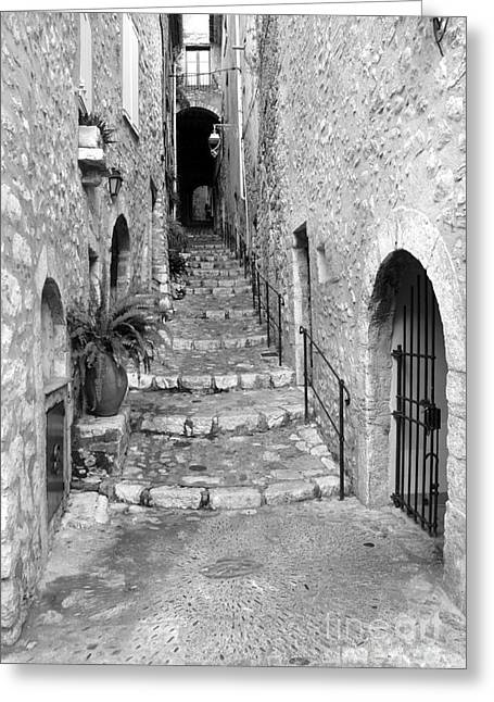 Stone Steps Mixed Media Greeting Cards - Narrow Passage Greeting Card by Lisa Schafer