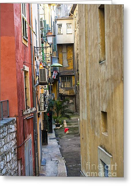 Alpes Greeting Cards - Narrow street in Old Nice Greeting Card by Elena Elisseeva