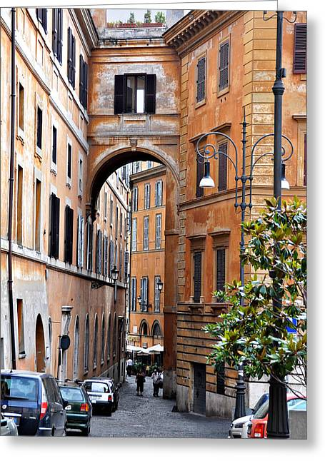 Rome Greeting Cards - Narrow Street in Rome Greeting Card by Marion McCristall