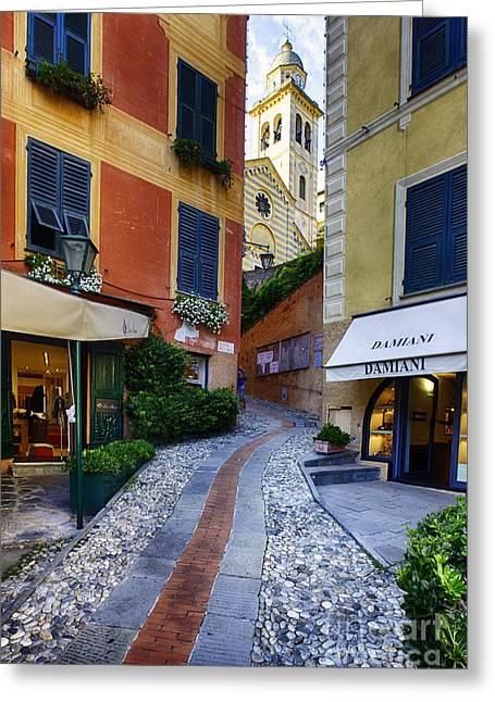 Portofino Italy Greeting Cards - Narrow Street Leading Up to a Church in Portofino Greeting Card by George Oze