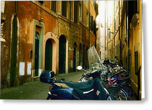 Old House Photographs Greeting Cards - narrow streets in Rome Greeting Card by Joana Kruse