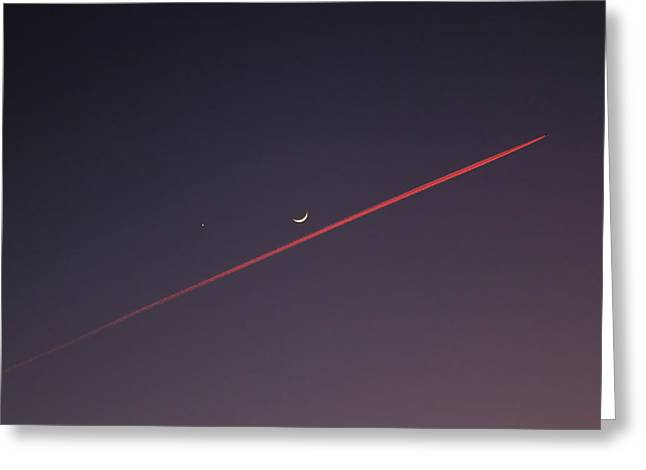 Smoke Trail Greeting Cards - Narrowly missed the Moon Greeting Card by Jasna Buncic