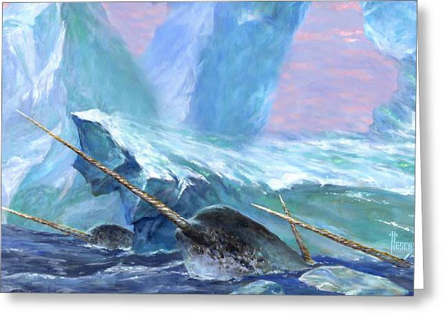 Narwhals Greeting Card by Richard Hescox