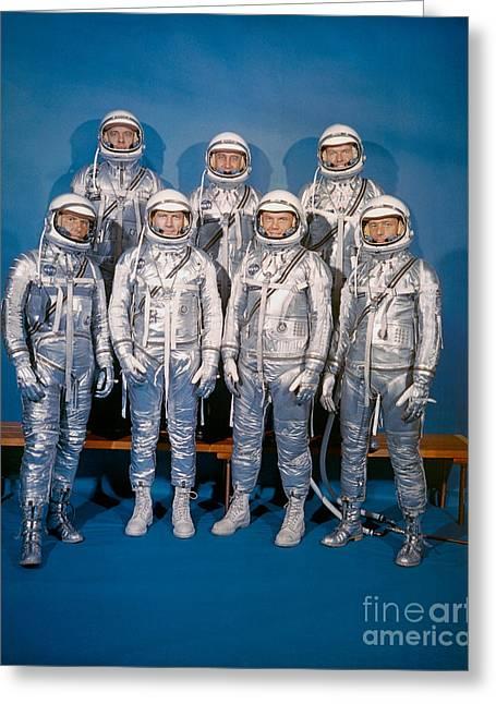 4th July Digital Greeting Cards - NASA Mercury Program Astronauts Greeting Card by R Muirhead Art