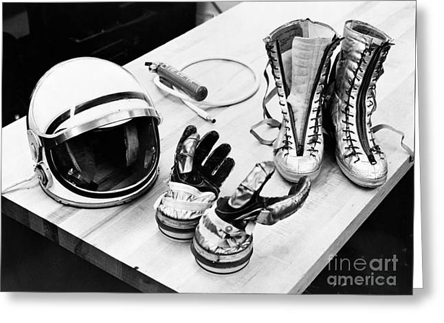 Component Digital Art Greeting Cards - NASA Mercury suit components including gloves boots and helmet Greeting Card by R Muirhead Art
