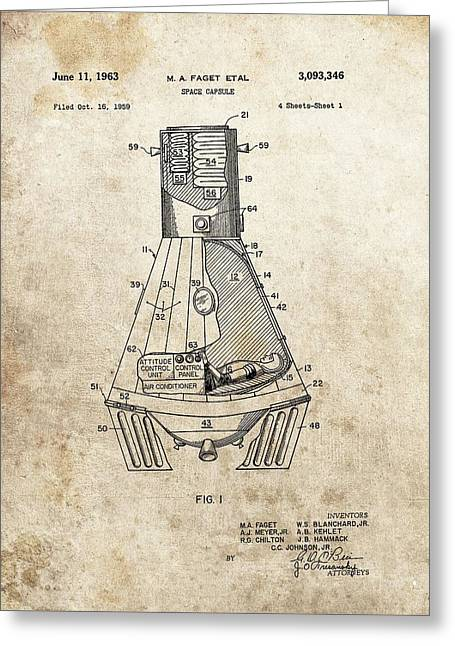 Man On The Moon Greeting Cards - Nasa Space Capsule Patent Greeting Card by Dan Sproul