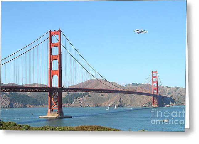 Jet Greeting Cards - NASA Space Shuttles Final Hurrah Over The San Francisco Golden Gate Bridge Greeting Card by Wingsdomain Art and Photography