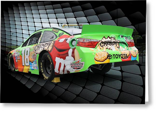 Number 18 Greeting Cards - Nascar 18 Greeting Card by Lisa Hurylovich