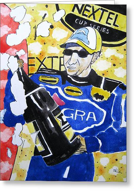 Charlotte Paintings Greeting Cards - Nascar Mark Martin Greeting Card by Lesley Giles