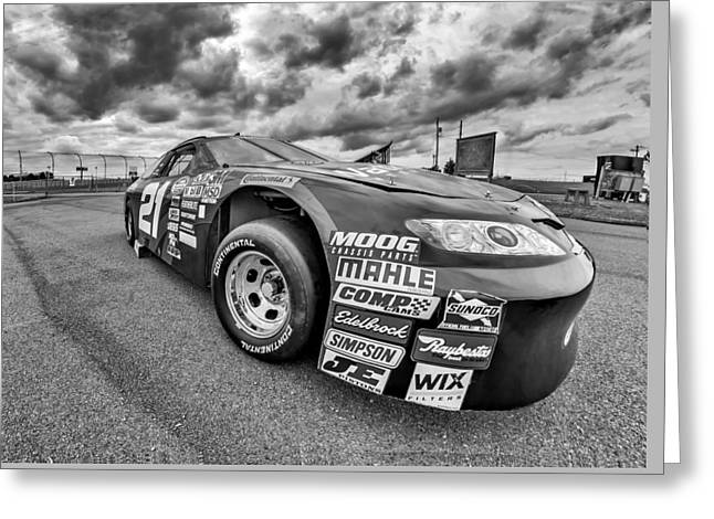 Print Photographs Greeting Cards - Nascar Toyota Race Car - bw Greeting Card by Steve Harrington