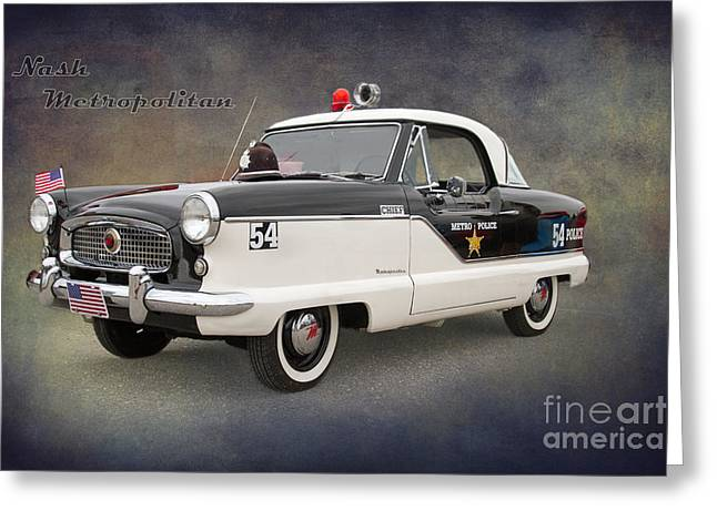 Police Cruiser Greeting Cards - Nash Metropolitan by Darrell Hutto Greeting Card by Darrell Hutto