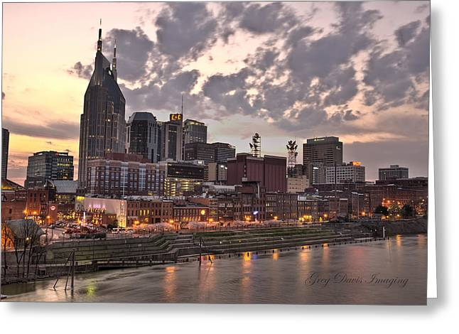 Nashville At Dusk Greeting Card by Greg Davis