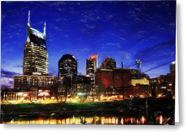 Nashville Tennessee Paintings Greeting Cards - Nashville At Twilight Greeting Card by Dean Wittle