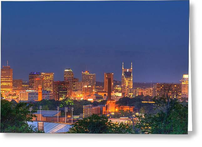 Nashville By Night Greeting Card by Douglas Barnett