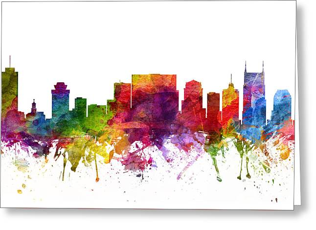 Nashville Tennessee Digital Greeting Cards - Nashville Cityscape 06 Greeting Card by Aged Pixel