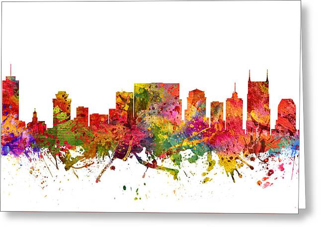 Nashville Tennessee Greeting Cards - Nashville Cityscape 08 Greeting Card by Aged Pixel