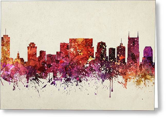 Nashville Tennessee Digital Greeting Cards - Nashville Cityscape 09 Greeting Card by Aged Pixel