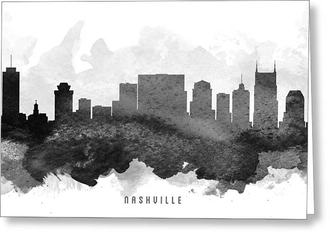 Nashville Tennessee Digital Greeting Cards - Nashville Cityscape 11 Greeting Card by Aged Pixel