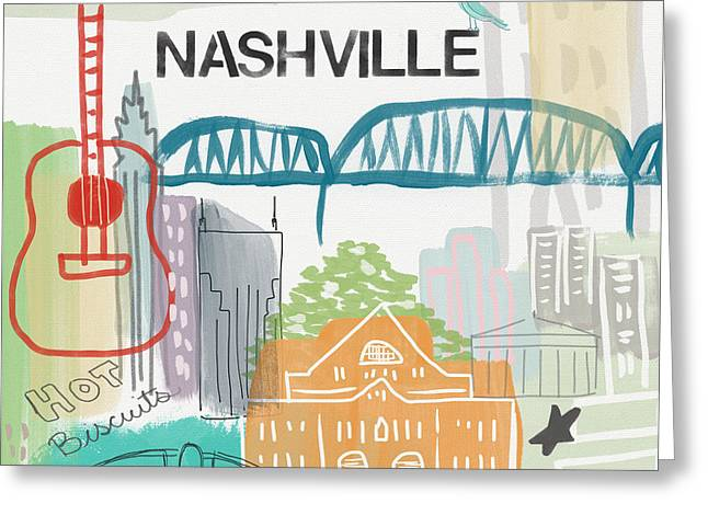 Nashville Cityscape- Art By Linda Woods Greeting Card by Linda Woods