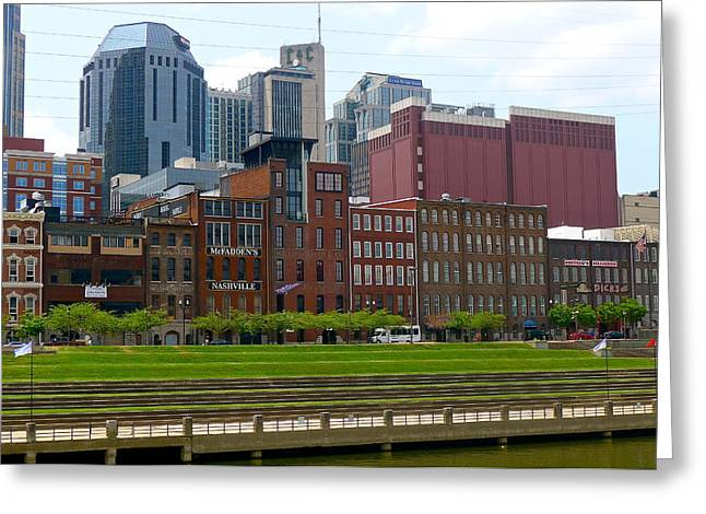 Hard Rock Cafe Building Greeting Cards - Nashville Cityscape Greeting Card by Denise Mazzocco