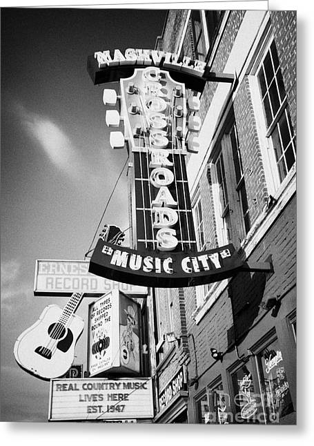 Downtown Nashville Greeting Cards - nashville crossroads music city ernest tubbs record shop on broadway downtown Nashville Tennessee US Greeting Card by Joe Fox