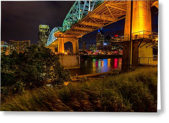 Live Music Greeting Cards - Nashville from Under Shelby Bridge Greeting Card by Mike Burgquist
