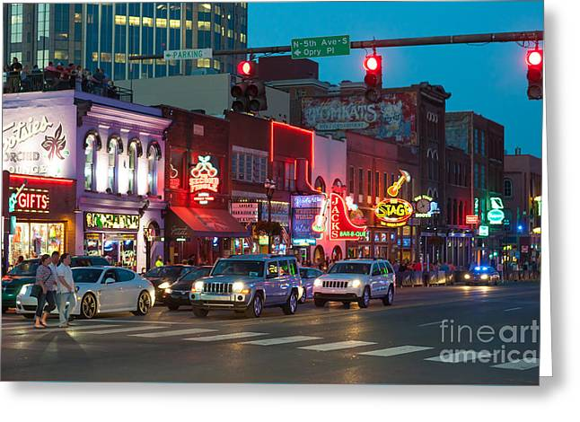 Nashville Tennessee Greeting Cards - Nashville Honky-Tonk District I Greeting Card by Clarence Holmes