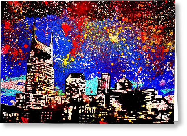 Music City Greeting Cards - Nashville Greeting Card by Nick Mantlo-Coots