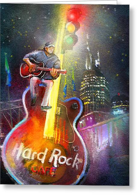 Townscape Digital Greeting Cards - Nashville Nights 01 Greeting Card by Miki De Goodaboom
