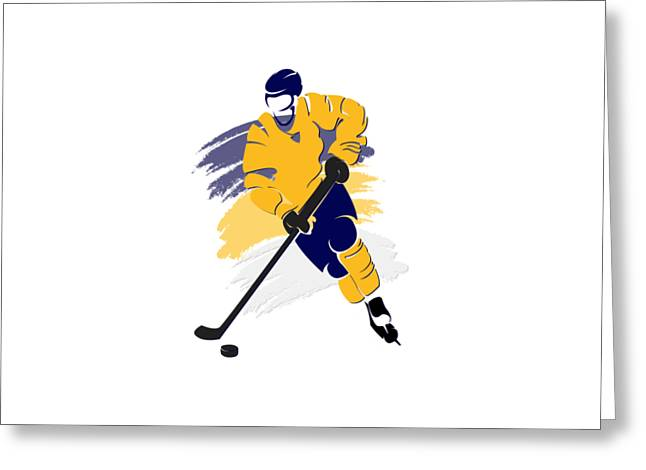 Ice-skating Greeting Cards - Nashville Predators Player Shirt Greeting Card by Joe Hamilton