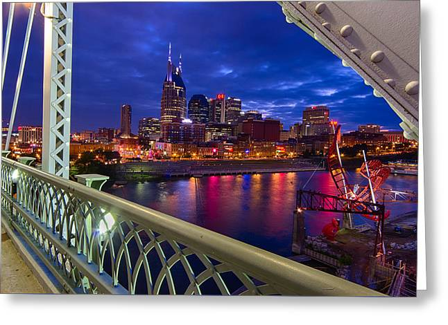 Iconic Guitars Greeting Cards - Nashville Skyline from Shelby Bridge Greeting Card by Mike Burgquist