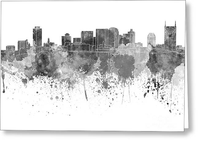 Tennessee Landmark Paintings Greeting Cards - Nashville skyline in black watercolor on white background Greeting Card by Pablo Romero
