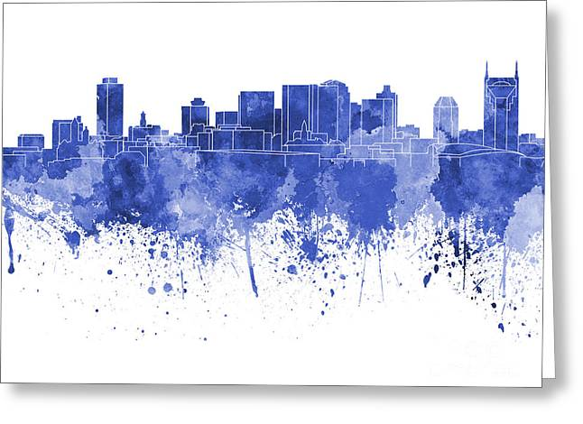 Tennessee Landmark Paintings Greeting Cards - Nashville skyline in blue watercolor on white background Greeting Card by Pablo Romero