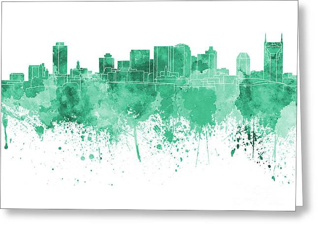 Tennessee Landmark Paintings Greeting Cards - Nashville skyline in green watercolor on white background Greeting Card by Pablo Romero