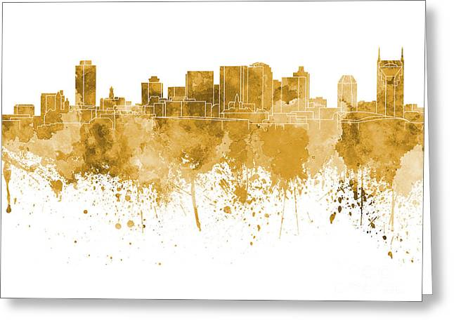 Tennessee Landmark Paintings Greeting Cards - Nashville skyline in orange watercolor on white background Greeting Card by Pablo Romero