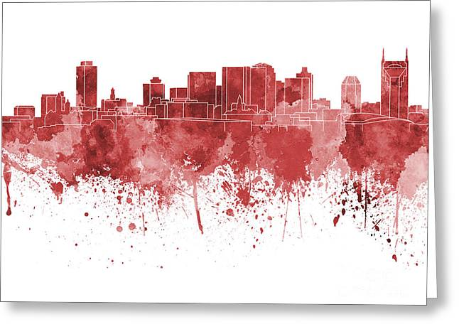 Tennessee Landmark Paintings Greeting Cards - Nashville skyline in red watercolor on white background Greeting Card by Pablo Romero