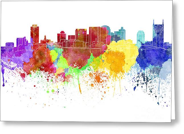 Tennessee Landmark Paintings Greeting Cards - Nashville skyline in watercolor on white background Greeting Card by Pablo Romero