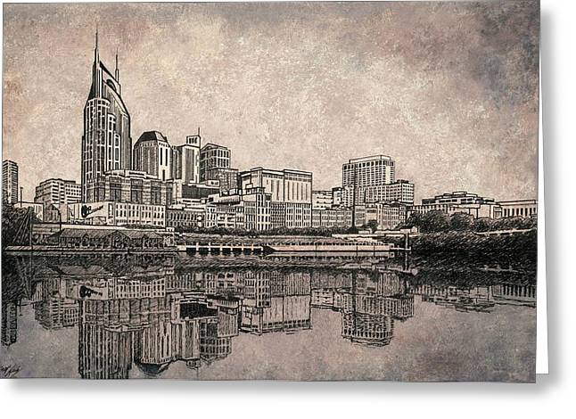 Nashville Downtown Greeting Cards - Nashville Skyline Ink Drawing Greeting Card by Janet King